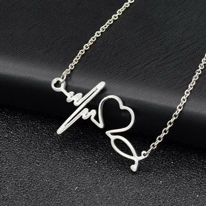 New Silver Tone Stethoscope Heartbeat Necklace